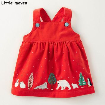 Little maven kids straps dresses for girls autumn baby girl clothes Cotton animal print braces dress