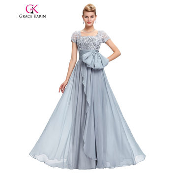 Long Evening Dresses Elegant Short Sleeve Chiffon Lace Evening Gowns Grey Special Occasion Dress