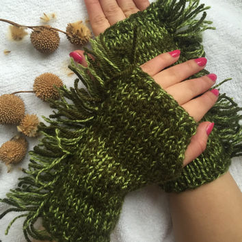 Knitted Fingerless Gloves, Green Gloves, Fringed, Gloves&Mittens, Gift Ideas, Turkish handicrafts, For her, Clothing and Accessories