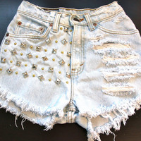 High waist destroy denim shorts super frayed and by jeansgonewild