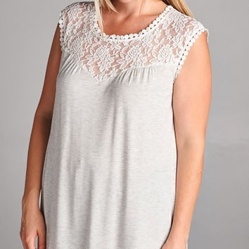 Heather and Cream Tunic Top With Lace Detail (1XL-3XL)
