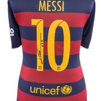 Leo Messi Signed 2015-16 FC Barcelona Home Shirt Jersey COA ICONS Lionel