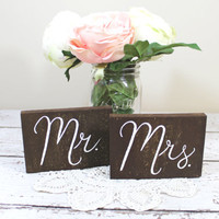 Mr. and Mrs. Wooden Signs / Set of Two / Sweetheart Table or Photo Props - (WD-42)