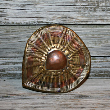 Vintage Heart Belt Buckle Aged Patina Brass Copper Indian Moroccan Vintage Accessories