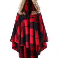 Plus Size High Low Plaid Hooded Cloak