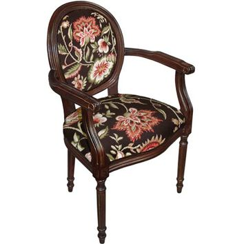 123Creations C909AC Brown Jacobean Floral Needlepoint Armchair