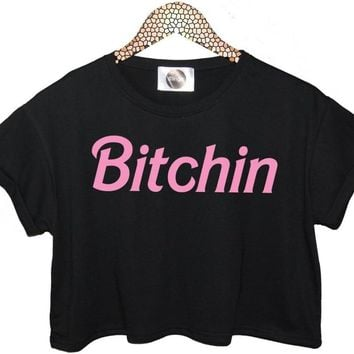 Bitchin Pink Letters Print Women Summer Crop Top Short t shirt Sexy Slim Funny Top Tee Hipster Black White ZT20-18