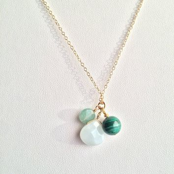 Transformation & Strength ~ Amazonite, Aventurine and Malachite Gold Filled Necklace