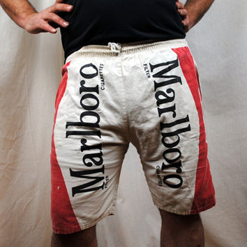 Distressed Vintage Marlboro Cigarette Shorts Jams Trunks