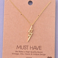 Dainty Lightning Bolt Charm Necklace - Gold, Silver or Rose Gold
