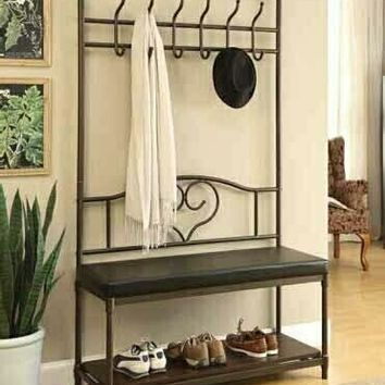 Weatherly collection industrial design black mud room entry boot bench coat tree rack