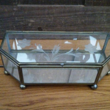 Vintage Brass Vitrine Glass Display Case Jewelry Box With Etched Top