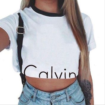 DCCKJH2 Calvin Klein Fashion Round neck Short Sleeve Women T-shirt Crop Tops