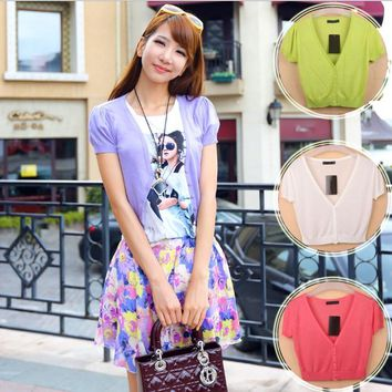 14 Colors Summer Women V-Neck Knitted Casual Loose Short Sleeve Elastic Thin Sweaters Cardigans Lady Knitting Outwear