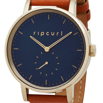 Shop Rip Curl Circa Gold Leather Watch in Navy   Jack's Surfboards