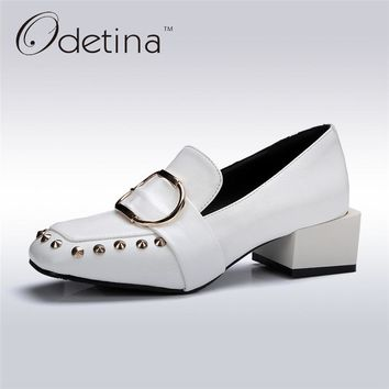 Odetina 2017 New Fashion Square Toe Womens Chunky Heel Pumps Buckle Slip on Loafers Rivets Shoes with Mid Heels Big Size 32-43