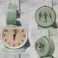 French vintage SMI alarm clock, retro alarm clock, peppermint green alarm clock, retro home decor, alarm clock, night stand clock, clock