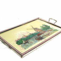 Vintage Glass Chrome Tray Windmill Water Landscape