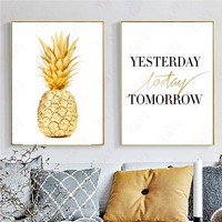 Nordic Fashion Gold Pineapple Canvas Painting Posters Pop Oil Wall Art Living Room Home Decor