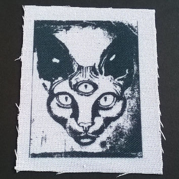 Third Eye Cat gothic patch- Grunge back patch sew on apllique patch iron on