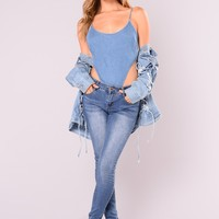 Ava Denim Bodysuit - Denim Blue