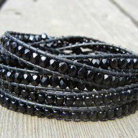 Beaded Leather Wrap Bracelet 5 Wrap with Jet Black Czech Glass Beads on Black Leather
