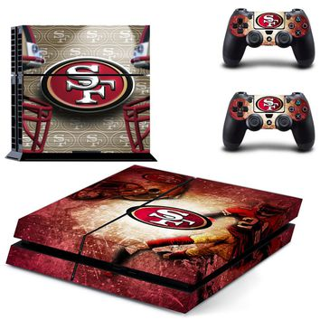 San Francisco 49ers PS4 Skin Sticker Decal for Sony PlayStation 4 Console and 2 controller skins PS4 Stickers Vinyl Accessory