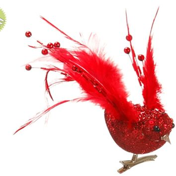 """8"""" Beaded and Feathered Red Dove Bird Clip-On Christmas Ornament"""