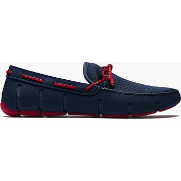 Men's Water Resistant Braided Lace Loafer in Navy/Red by SWIMS