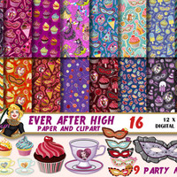Ever After High digital paper, clipart, party mask, kids birthday,muffin,teacup clipart, princess, Scrapbooking Paper, patterns, backgrounds