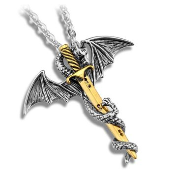 ZRM Fashion Vintage Charm Pterosaurs Sword Necklace Flying Dragon With Wings Rolled Sword Cross Punk Necklace Jewelry Men Women