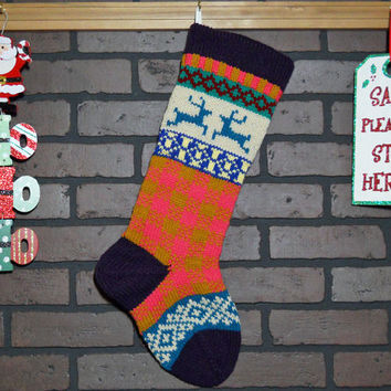 Plaid Christmas Stocking, Hand Knit with Amethyst Purple Cuff, and Teal Reindeer, can be personalized