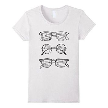 Womens Nerdy Glasses T-shirt, Science Tee Geek clothes Hipster gift Medium White
