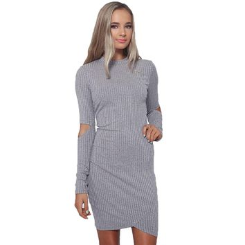 Stylish Jewel Neck Long Sleeve Cut Out Pure Color Midi Dress for Women