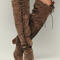 Love Galore Faux Suede Boot (Taupe)