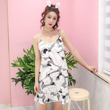 Summer sexy v-neck 100% cotton sleepwear spaghetti strap nightgown big yards M-XXL women's sexy sleepshirts female temptation