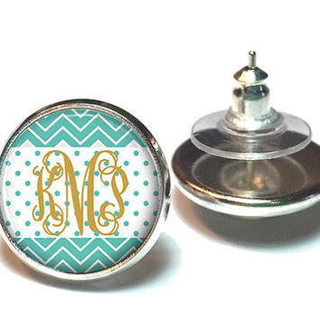Monogram Earrings, Monogram Jewelry, Stud Earrings, Dangle Earrings, Personalized Jewelry, Teal Chevron Monogram Earrings - Style 634
