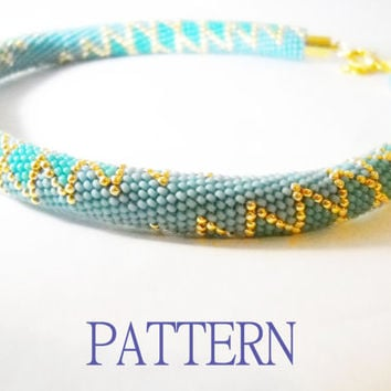 beaded crochet rope pattern - diy necklace - geometric pattern - seed bead bracelet