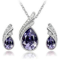 Teardrop Crystal Rhinestone Necklace and Earrings