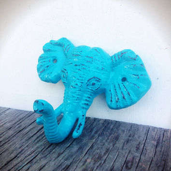 Seaside Aqua Blue Shabby Distressed Cast Iron Elephant Head Wall Hook - Jungle Safari Animal