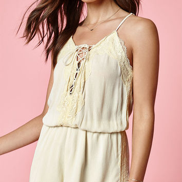 Kendall and Kylie Deep V Lace-Up Romper at PacSun.com