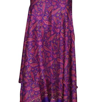 Women's Magic Wrap Skirts Reversible Boho Long Silk Sari Beach Dress