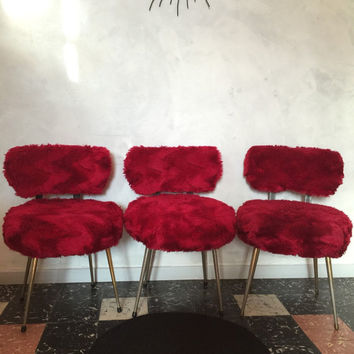 Chair french vintage faux fur red Carmine brand Pelfran