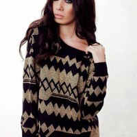 Black and Metallic Gold Jumper