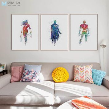 Batman Dark Knight gift Christmas Modern Watercolor Superhero Batman Movie Poster Nordic Kids Boy Room Wall Art Print Pictures Home Decor Canvas Painting Custom AT_71_6