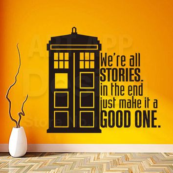 Art New design police box home decor vinyl good story words wall sticker removable house decoration Doctor Who characters decals