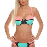 CORAL MINT TWO PIECE TWO TONE PLAYFUL SIDE SWIM SUITS