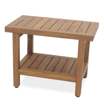 Teak Wood Oversized Shower Bench with Shelf