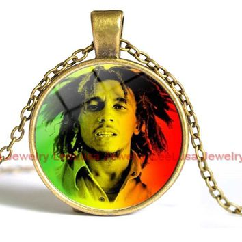 Bob Marley Rock Music Vintage Silver/bronze Color Long Chain Necklace Jewelry for Women and Men