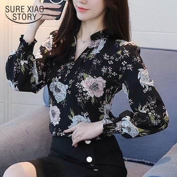 new spring long sleeved blouses fashion slim casual print plus size elegant OL style women shirts chiffon clothing D556 30